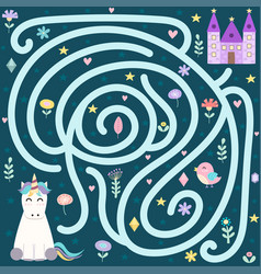 help cute unicorn find way to magic vector image