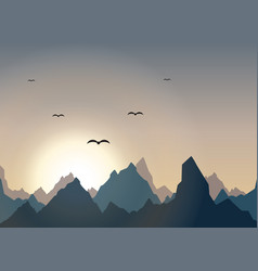 horizontal panorama of beautiful sunrise in the vector image