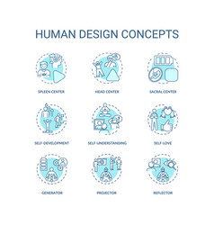 Human design turquoise concept icons set vector