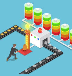 Isometric businessmen use power to create good vector