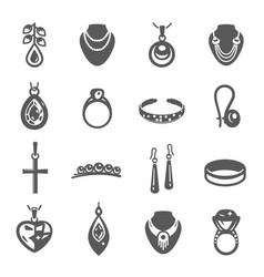 jewelry black icon set beauty and accessories vector image