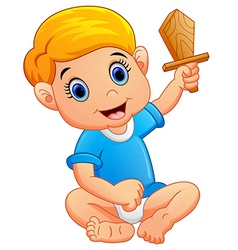 Kid holding a wooden knife vector