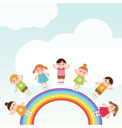 Kids jumping on the rainbow vector image