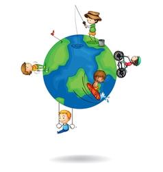kids playing on earth globe vector image