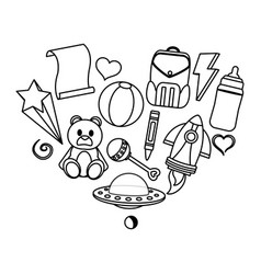 Line baby toys nice things style vector