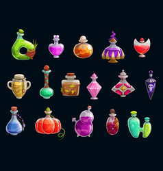 Magical witch potions halloween party elixir vector