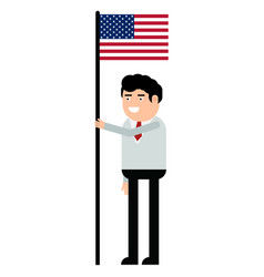 man holding the united states flag vector image