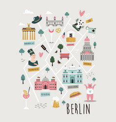 Map berlin with famous symbols vector