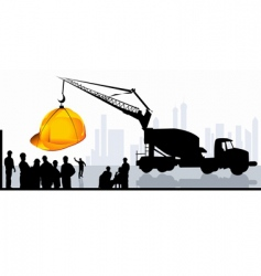 men on construction site vector image