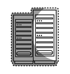 Monochrome contour sticker with tower server vector