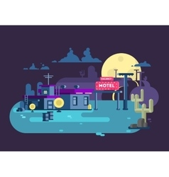 Motel night flat design vector