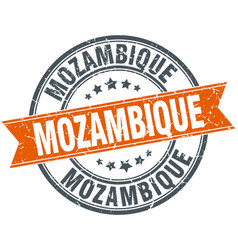 Mozambique red round grunge vintage ribbon stamp vector