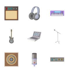 Music studio icons set cartoon style vector