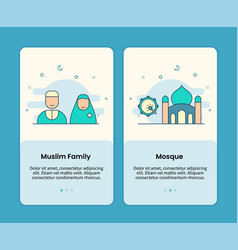 Muslim family and mosque design onboarding design vector