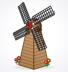 old windmill dutch holland european vector image