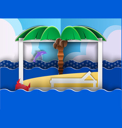 Paper cut beach vector