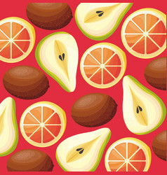 pattern of kiwis with pears and oranges vector image