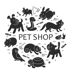 pet shop silhouette in circle template vector image