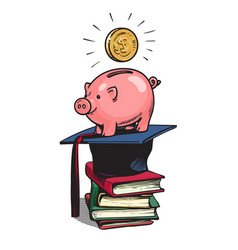piggy bank with graduation hat vector image