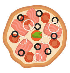 pizza with onionstomato and olivesprint vector image