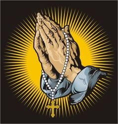 Praying hands with rosary and shining vector image