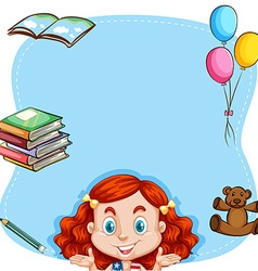 Red hair girl and book on border vector