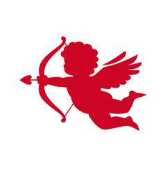 Red silhouette cupid aiming a bow and arrow vector