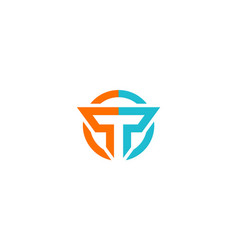 Round letter t logo vector