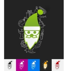 Santa Claus paper sticker with hand drawn elements vector image