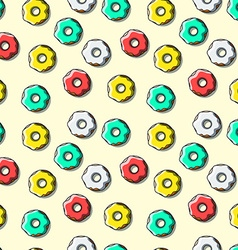 Seamless pattern of bright multi-colored donuts vector