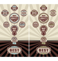 Set Badges quality open close and sale vector image