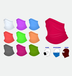 set bandanna realistic or bandanna for biker vector image