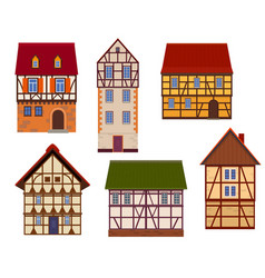 set half timbered houses on white background vector image
