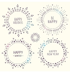 set of amazing snowflakes vector image