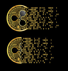 Set of crypto currency ripple golden symbols vector