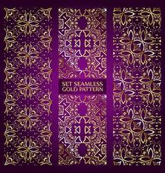 Set of golden lace pattern purple vector