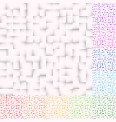 set of mosaic patterns in several color squares vector image