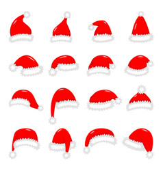 set red santa claus hats isolated on white vector image