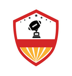 Shield emblem with football ball and trophy cup vector
