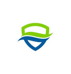Shield wave logo icon design vector