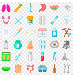 Sickness icons set cartoon style vector