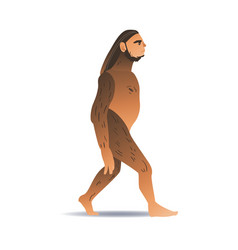 sketch caveman ape-like walking isolated vector image
