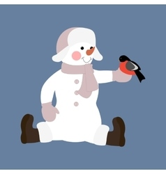 Snowman with bird vector image