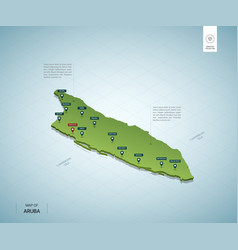 Stylized map aruba isometric 3d green map vector
