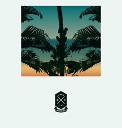 summer beach poster with a man on a palm tree vector image