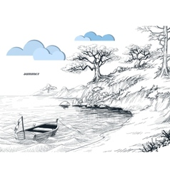 Summer seascape sketch olive trees on shore small vector image