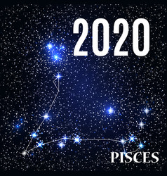symbol pisces zodiac sign with new year and vector image