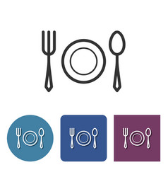 Tableware line icon in different variants vector