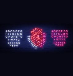 Tattoo studio logo neon sign symbol of human vector