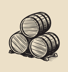 three barrels wine alcohol vintage vector image